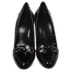 Gucci Black Patent Leather Horsebit Star Bow Peep Toe Loafer Pumps Size 41