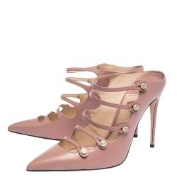 Gucci Pink Leather Aneta Strappy Pointed Toe Mules Size 38
