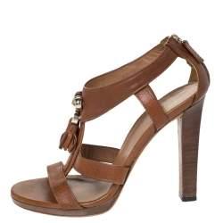 Gucci Brown Leather Marrakech Tassel Detail T-Strap Sandals Size 37