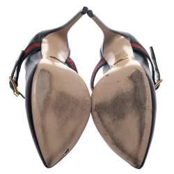 Gucci Black Leather Sylvie Buckle Detail Pumps Size 37