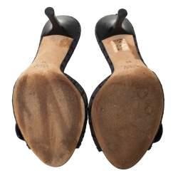 Gucci Black Canvas Horsebit Open Toe Sandals Size 35