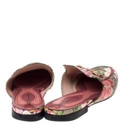 Gucci Multicolor GG Supreme Blooms Printed Canvas Princetown Horsebit Loafer Slides Size 36