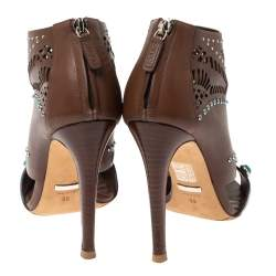 Gucci Brown Leather Lika Stone Embellished Ankle Booties Size 39