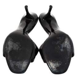 Gucci Black Patent Double Buckle Detail Slides Size 38