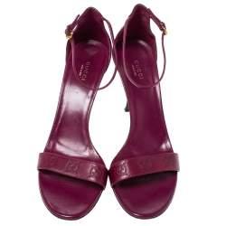 Gucci Purple Guccissima Leather Ankle Strap Sandals Size 40.5