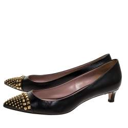 Gucci Black Leather Coline Studded Pointed Pumps Size 38