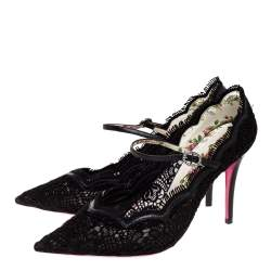 Gucci Black Lace And Leather Virginia Mary Jane Pumps Size 39.5