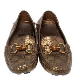 Gucci Metallic Bronze Guccissima Leather Bamboo Horsebit Loafer Size 37.5
