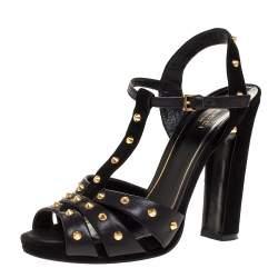 Gucci Black Studded Leather T-Strap Slingback Sandals Size 37