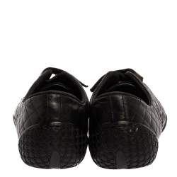 Gucci Black Quilted Leather Web Low Top Sneakers Size 35