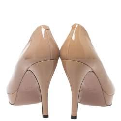Gucci Beige Patent Leather Peep Toe Platform Pumps Size 38