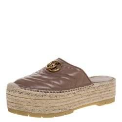 Gucci Beige Leather GG Marmont Platform Espadrilles Mules Size 38