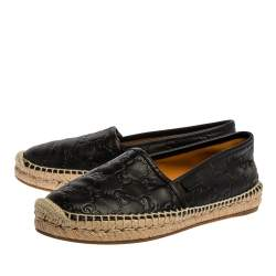 Gucci Black GG Leather Slip On Espadrille Flats Size 36