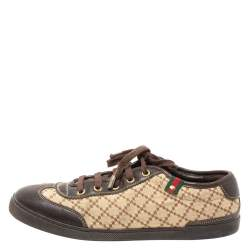 Gucci Brown/Beige Diamante Canvas and Leather Low Top Sneakers Size 39