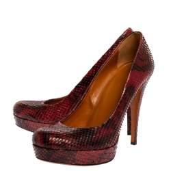 Gucci Red/Black Python Leather Platform Pumps Size 37.5