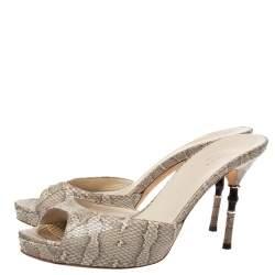 Gucci White/Grey Snakeskin Bamboo Heel Platform Sandals Size 38.5