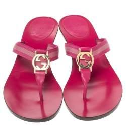 Gucci Pink Magenta Canvas Vintage GG Web Logo Sandals Size 38.5