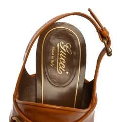 Gucci Brown Patent Leather Horsebit Slingback Block Heel Sandals Size 38.5