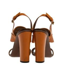 Gucci Brown Patent Leather Horsebit Slingback Block Heel Sandals Size 38.5