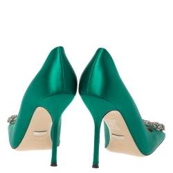 Gucci Green Satin Dionysus Buckle Square Toe Pumps Size 38.5