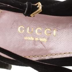 Gucci Black Suede Peep Toe Slingback Sandals Size 38.5