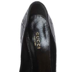 Gucci Black Leather Guccissima Pumps Size 35