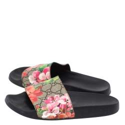 Gucci Beige GG Supreme Blooms Canvas Flat Slides Size 36