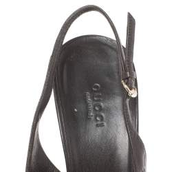 Gucci Brown Guccissima Leather Pointed Toe Slingback Sandals Size 41