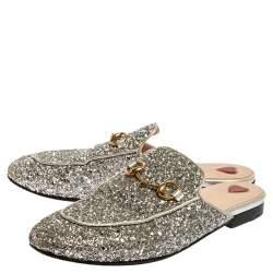 Gucci Silver Glitter Leather Princetown Flat Mule Size 37.5
