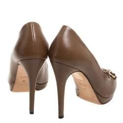 Gucci Brown Leather Horsebit Peep Toe Pumps Size 36