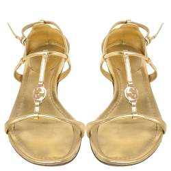 Gucci Gold Leather Logo Charm Strappy Sandals Size 38