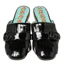 Gucci Black Patent Leather Marmont Fringe Detail Slippers Size 38