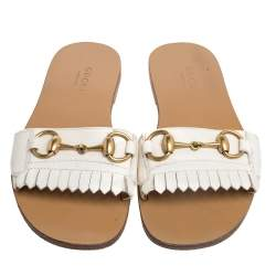 Gucci Cream Leather Horsebit Fringed Detailed Slide Flats Size 34