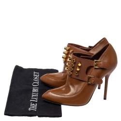 Gucci Brown Leather Alexandra Studded Ankle Boots Size 37.5