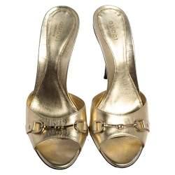 Gucci Gold Leather Horsebit Open Toe Slide Sandals Size 38