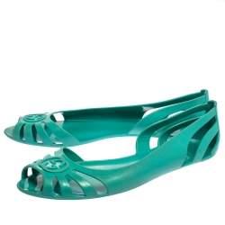 Gucci Green Rubber Interlocking GG Marola Ballet Flats Size 39