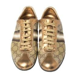 Gucci Beige/Gold Supreme Canvas and Leather Web Low Top Sneakers Size 39