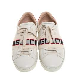 Gucci White/Red Leather Ace Gucci Band Low Top Sneakers Size 37.5