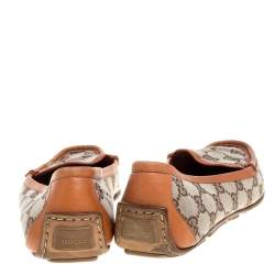 Gucci Orange/Beige GG Canvas and Leather Vintage Loafers Size 39