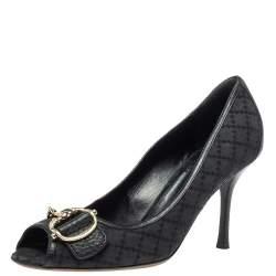 Gucci Black Diamante Canvas And Leather Trim Icon Bit Peep Toe Platform Pump Size 39