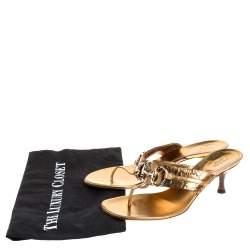 Gucci Gold Guccissima Leather Horsebit Slide Thong Sandals Size 37C