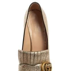Gucci Metallic Gold Foil Leather GG Marmont Fringe Pumps Size 37