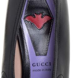 Gucci Black Leather Cutout Detail GG Bow Embellished Berith Pumps Size 38.5