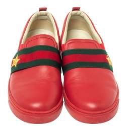 Gucci Red Leather Web Band Slip On Sneakers Size 36