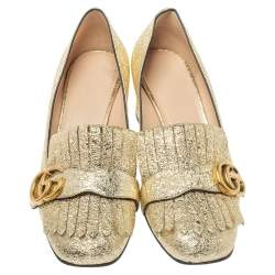 Gucci Metallic Gold Crinkled Leather GG Marmont Fringe Detail Pumps Size 38