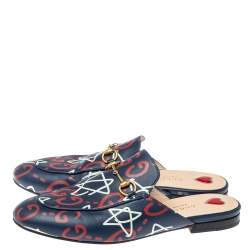 Gucci Navy Blue Leather Apollo Star Princetown Mules Size 38