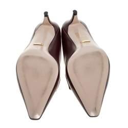 Gucci Burgundy Leather Interlocking G Horsebit Pointed Toe Mules Size 40
