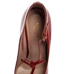Gucci Red Patent Leather Beverly T Strap Pumps Size 36