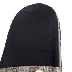 Gucci Beige Coated Canvas Pursuit Pearl Sandals Size 39