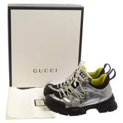 Gucci Silver/Black Leather And Mesh Flashtrek Low Top Sneakers Size 37